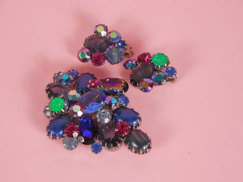 SOLD! 1950 D and E Juliana Blue and Pink Aurora Borealis Demi Parure Set DeLizza and Elster