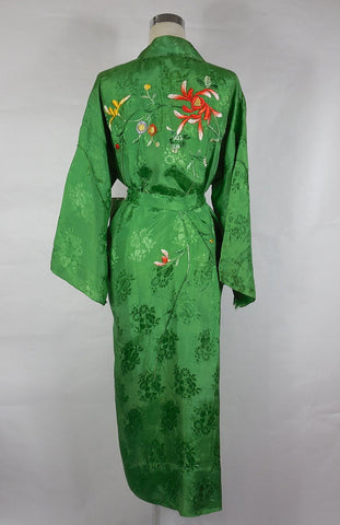 1920's Vintage Green Rayon Embroidered Robe