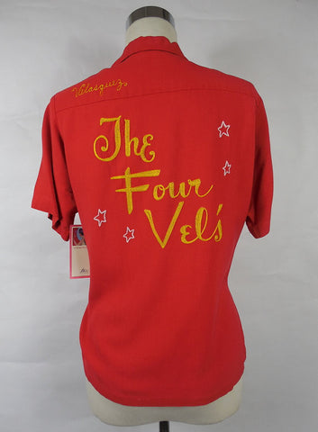 SOLD! 1950's Vintage Red Bowling Shirt ' The Four Vels' Large