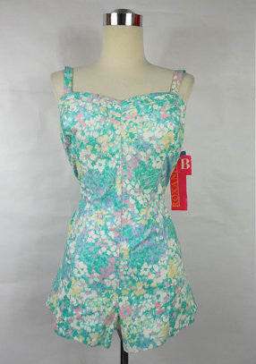 1960's Dead stock Vintage Blue and White Floral Sweetheart Romper by Roxanne B cup