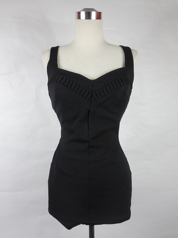 1950's Vintage Black Lee Sweetheart Swimsuit One Piece Maillot