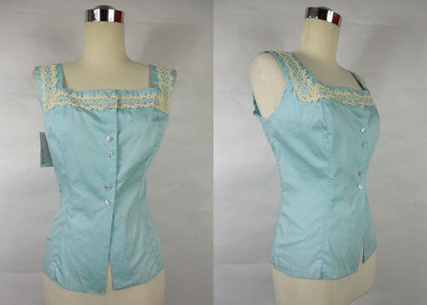 SOLD! 1950's Vintage Blue Deadstock Dazzle Cotton Blouse Large
