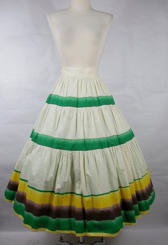 SOLD! 1950's Vintage Cotton Cream Skirt with Green and Yellow Stripes
