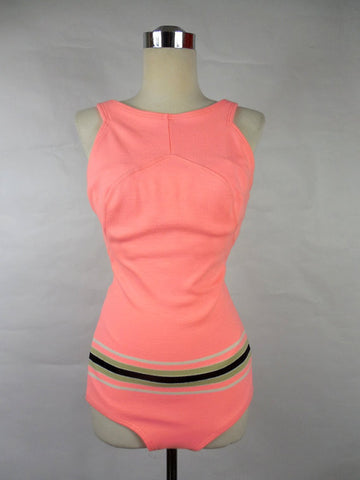 1950's Vintage Neon Pink Striped Swimsuit Maillot One Piece by Carol Brent