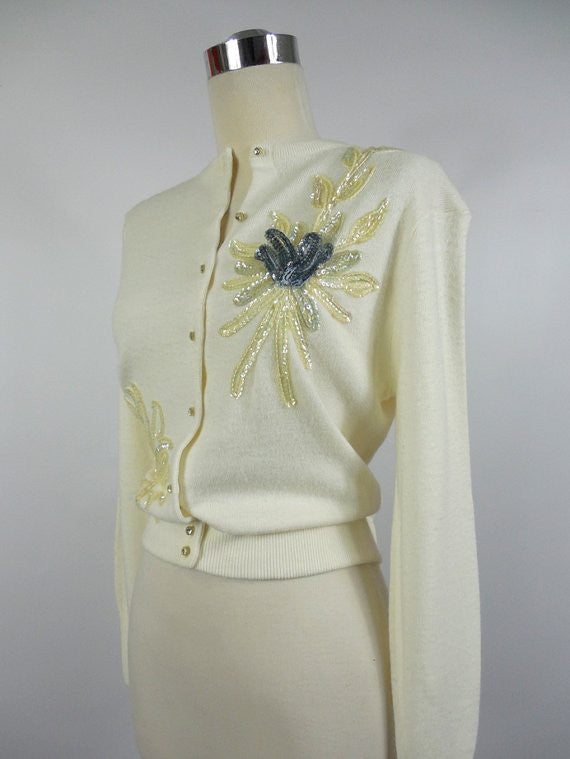 1950's Vintage White Sweater with Rhinestone buttons and Sequin Flowers