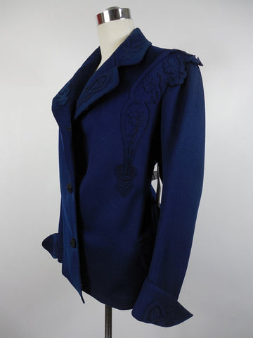 SOLD! 1900's Victorian Wool Navy Blue Jacket with Cut Out Trim Design