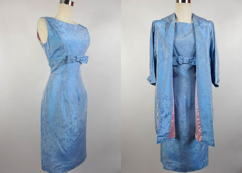 1950's 1960's Vintage Blue Shimmery Jacquard Empire Waist Cocktail Wiggle Dress with Jacket