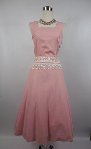 1950's Vintage Pink Cotton Day Dress with White Trim