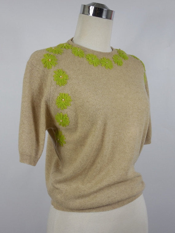 SOLD! 1950's Vintage Tan Cashmere Pullover Sweater with Green Flowers Barbara Lee