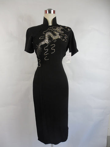 SOLD! 1940's Vintage Black Crepe Chinese Dragon Dress with Sequins