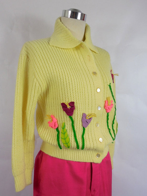 1950's Vintage Canary Yellow Sweater with Felt Tulips