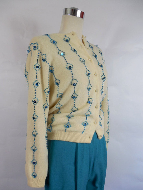 SOLD! 1950's Vintage Wool Sweater with Blue Bead Work