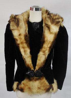 SOLD! 1930's Vintage Black Velvet Fur Coat with Bakelite Closures
