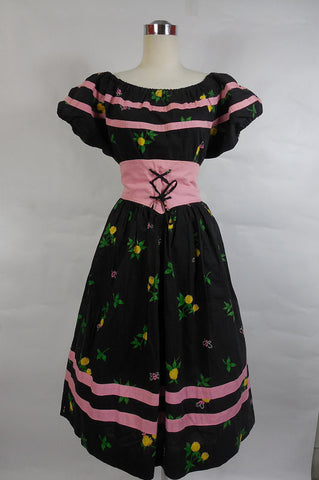 1950's Vintage Black and Pink Polished Cotton Skirt and Peasant Blouse Set with Fruit Pattern