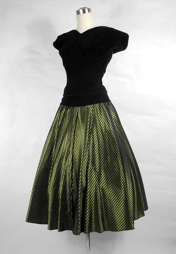 1950's Party Dress Vintage Black Velvet and Green Taffeta Skirt by Helen of California