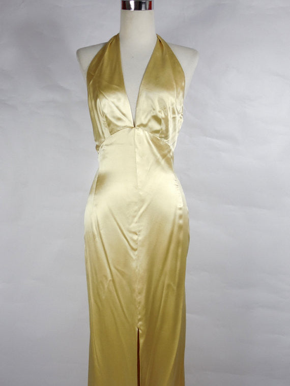 SOLD! 1930's Silk Satin Gown Vintage Creamy Color with Plunging Neckline Low back