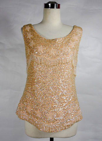 1960's Vintage Peach Sequin Tank Top with Stars and Hanging Beads