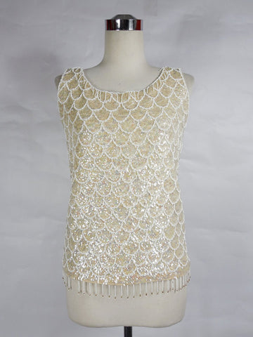 1960's Vintage White Beaded Sequin Tank with Scallop Design