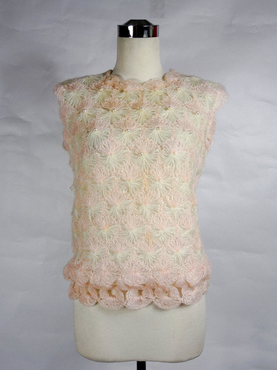 1960's Vintage Pale Pink Crocheted Sleeveless Blouse with Pearls