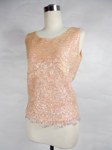 1960's Vintage Pink Sequin Tank with Beaded Fringe and Pointsettias