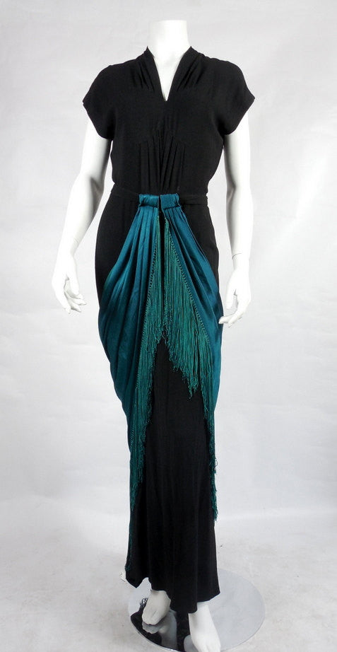 SOLD! 1940's Pattullo Jo Copeland Original Vintage Black Rayon Gown With Teal Green Fringe Sash