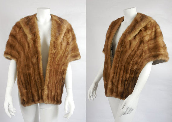 SOLD! 1950's Vintage Light Brown Mink Fur Stole Wrap w. Shawl Collar