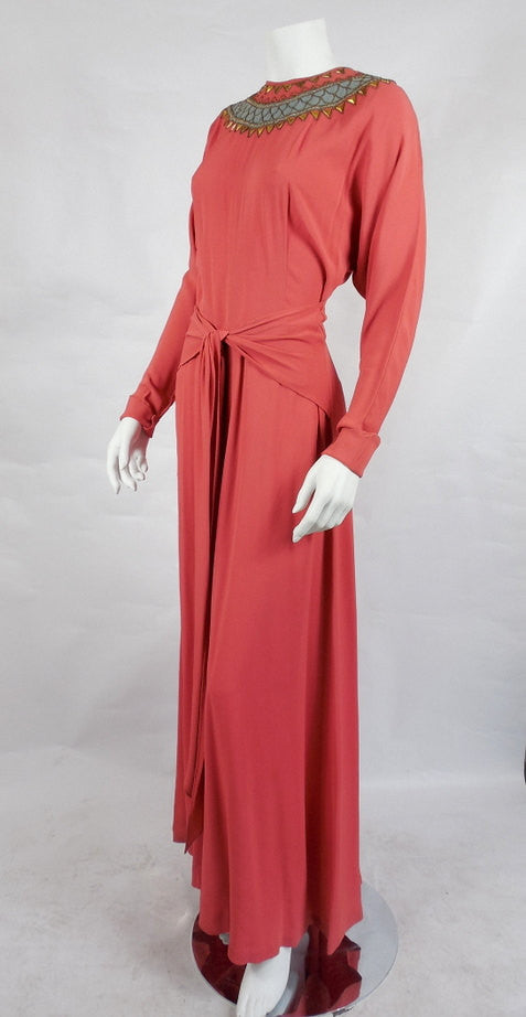 SOLD! 1940's/30's Vintage Coral Rayon Gown with Studded Neckline