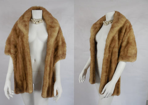 SOLD! 1950's Vintage Light Brown Mink Stole by Charmante Furs