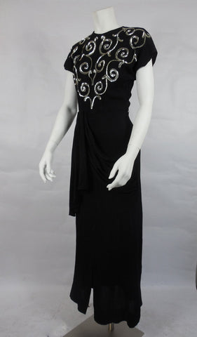 SOLD! 1940's Vintage Black Rayon Dress with Silver Sequin Swirls on Bodice