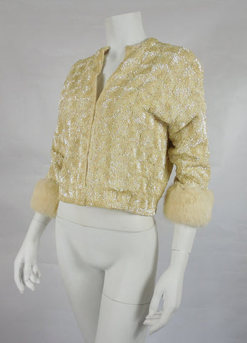 SOLD! 1950's Vintage Cream Sequined Sweater with Fur Cuffs