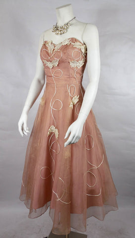 SOLD! 1950's Vintage Blush Organza Party Dress with White Hydrangea Appliques