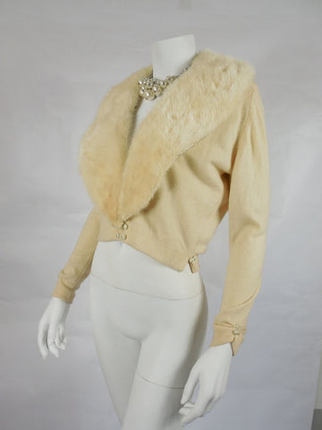 SOLD! 1950's Vintage Cream Maurice Bruder Cashmere Sweater with Mink Collar