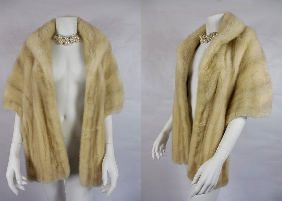 SOLD! 1950's Vintage Cream Luxe Mink Stole by C.J Lurch Furs designed by Freeman