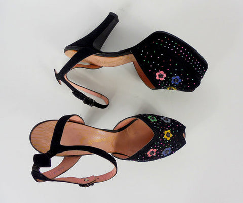 SOLD! 1940's Black Floral Platform Heels with Ankle strap