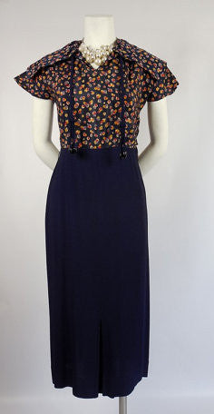 1930 1940's Blue Crepe Dress with Drawstring Collar