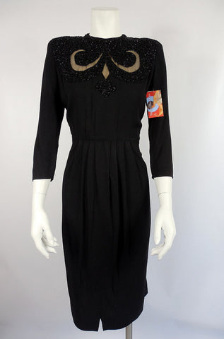 SOLD! 1940's Black Rayon Dress with Beadwork
