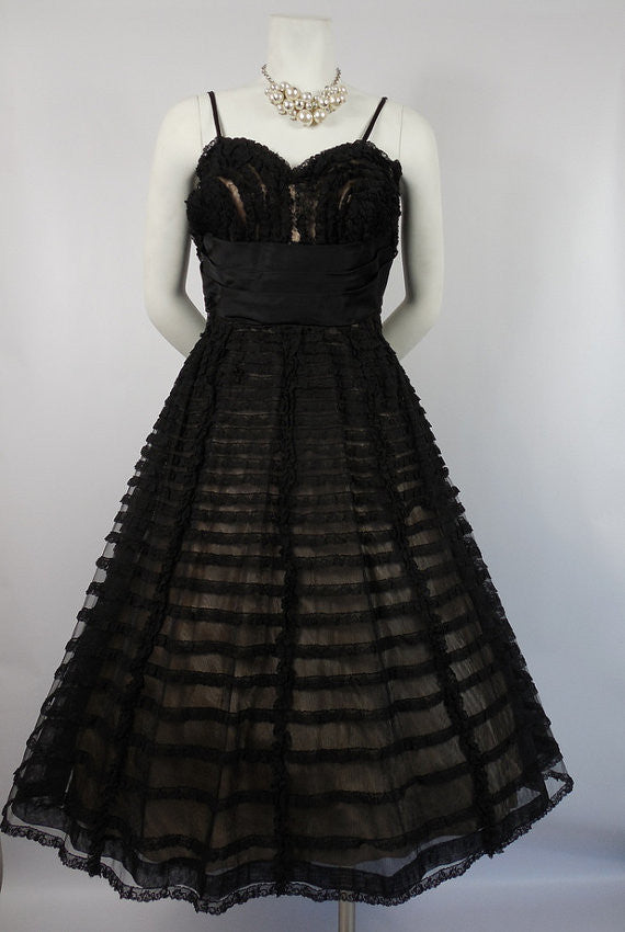 SOLD! 1950's Black Lace Cocktail Dress with Ruffled Lace Party Dress