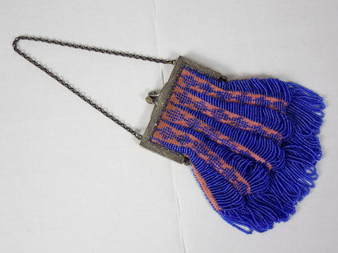 SOLD! 1920's Blue Beaded Purse w/ Draped Beads and Metal Frame