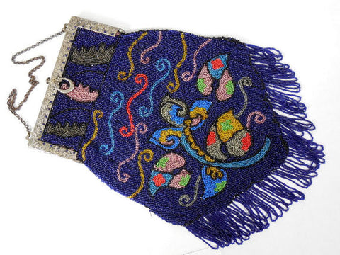 1920's Royal Blue Beaded Purse w/ Metal Frame