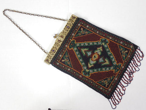 SOLD! 1920's Tapestry Style Beaded Purse in Brown and Blue