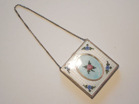 SOLD! 1920 Chrome & Enamel Compact with Floral Cameo Design