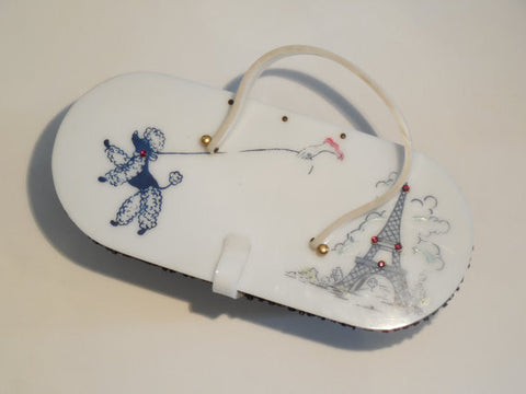 SOLD! All Original Vintage 1950 Lucite and Raffia Box Purse With Wonderful Poodle and Eiffel Tower Design