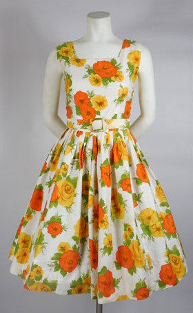 1950's Orange Floral Cotton Dress with Belt by Gallant California