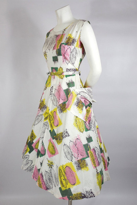 1950s Atomic Print Cotton Dress with Rhinestones