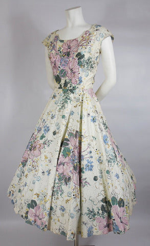 SOLD! 1950's Floral Cotton Kramer Original Dress