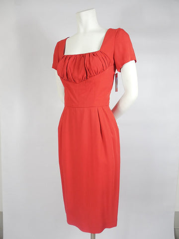SOLD! 1950's Don Loper Red Wiggle Dress Cocktail Crepe with Shelf Bust