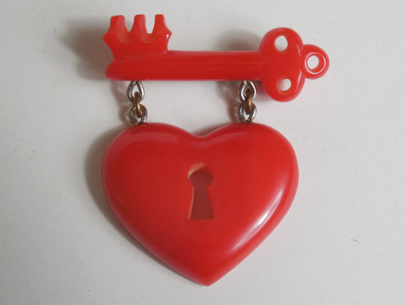 SOLD! Bakelite 1940's WWll MacArthur Heart & Key Brooch