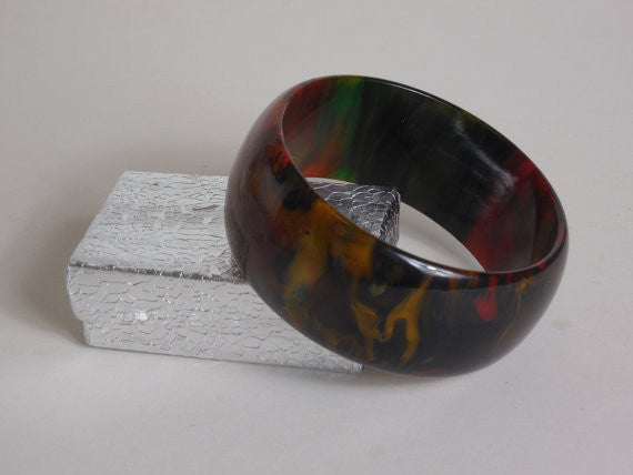 SOLD! 1940 Bakelite End Of Day Multi Colored Marble Red Green Butterscotch Blue Black Very Rare