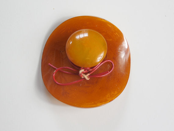 SOLD! 1930 1940 Large Bakelite Pin Butterscotch Marbled Hat Brooch Rare