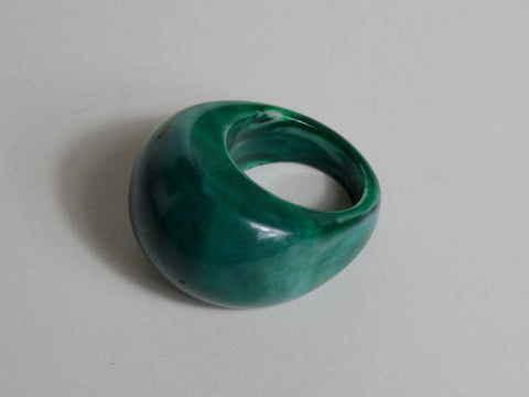 1930 1940 Large Bakelite Blue Moon End of Day Marbled Ring Very Rare
